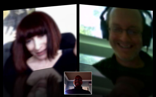 "Anne Friedberg, Steve Anderson and I on a videoconference during the production of ""The Virtual Window Interactive."""